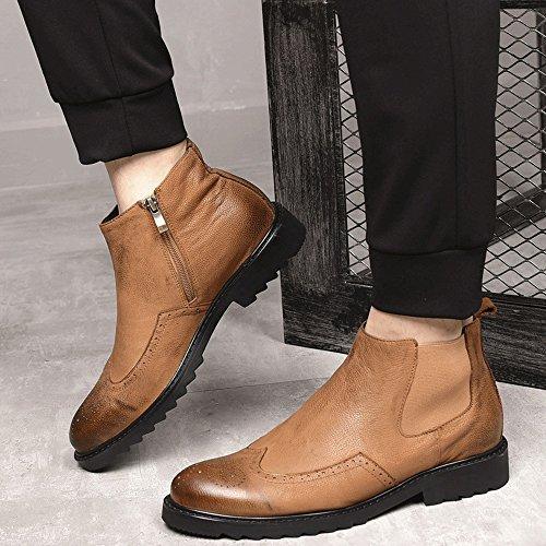 Martin Bottes Hommes Plus Chaussures De Coton Velours Brock Sculpté Vieilles Chaussures Hautes Bottes De Cuir Hommes Bottes En Cuir,Brown,42