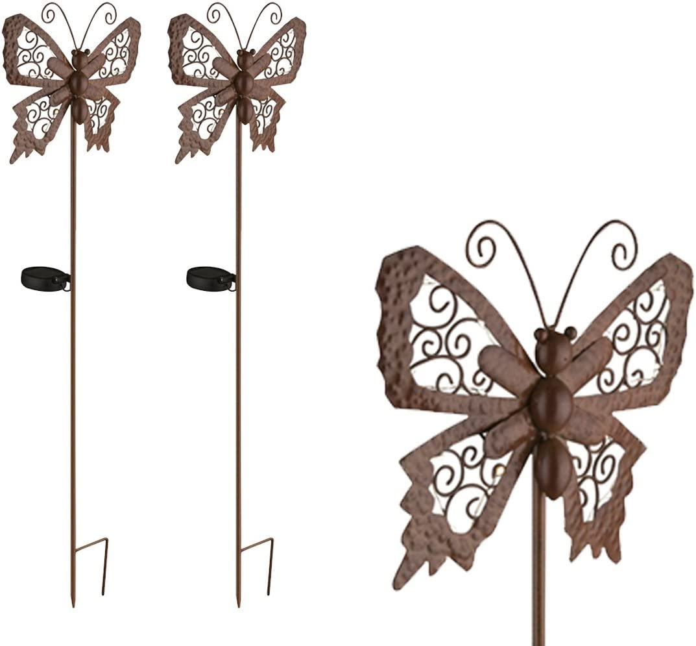 Juego de 2 figuras solares LED para el jardín, mariposas de color bronce con estaca...: Amazon.es: Iluminación