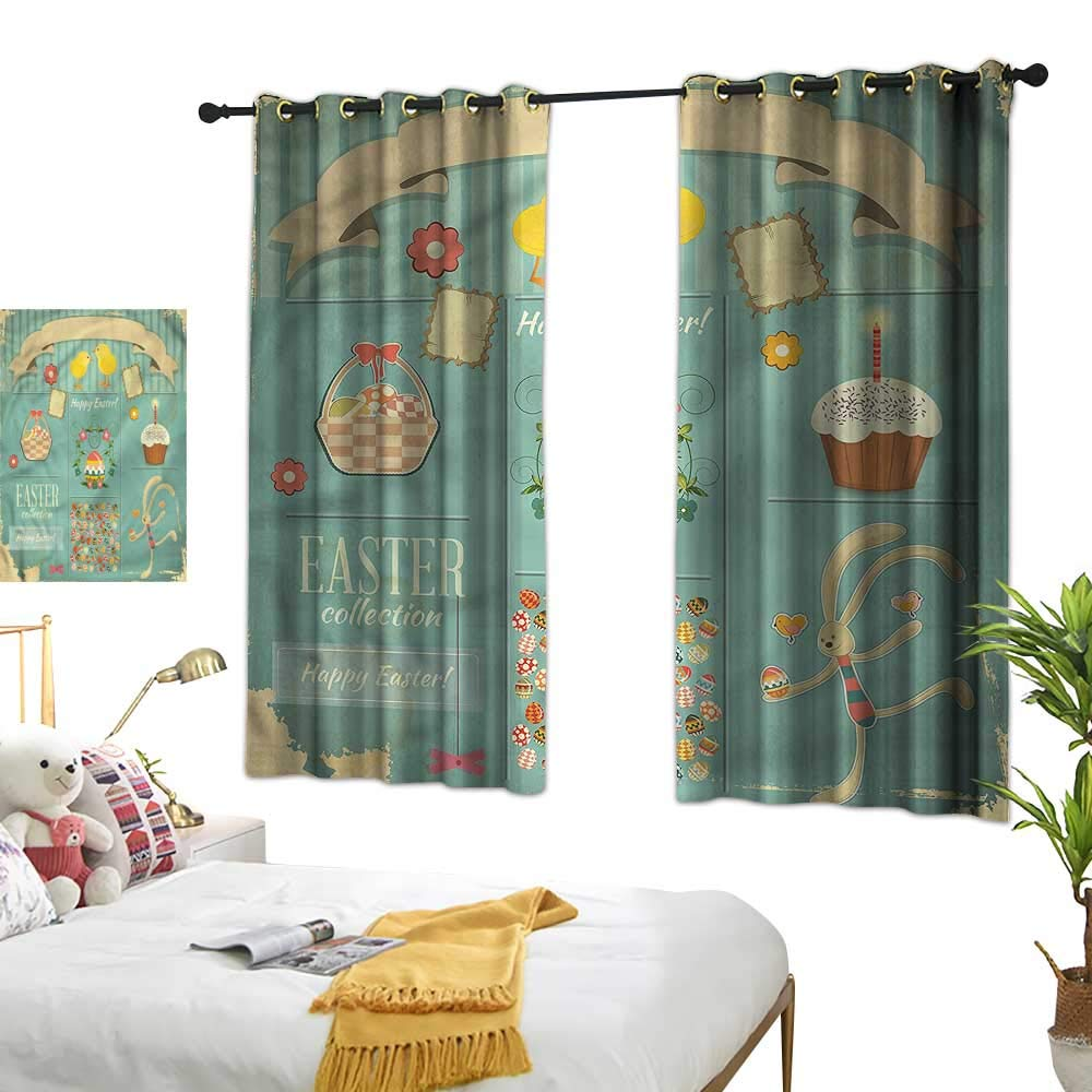 Lightly Navy Blue Curtains Easter,Eggs Cupcake and Basket 84''x84'',Kids Blackout Thermal Curtain Panel by Lightly