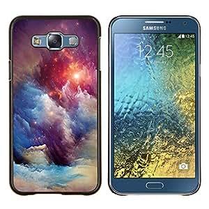 Nebulosas Cielo Universo Estrellas Azul Awe- Metal de aluminio y de plástico duro Caja del teléfono - Negro - Samsung Galaxy E7 / SM-E700