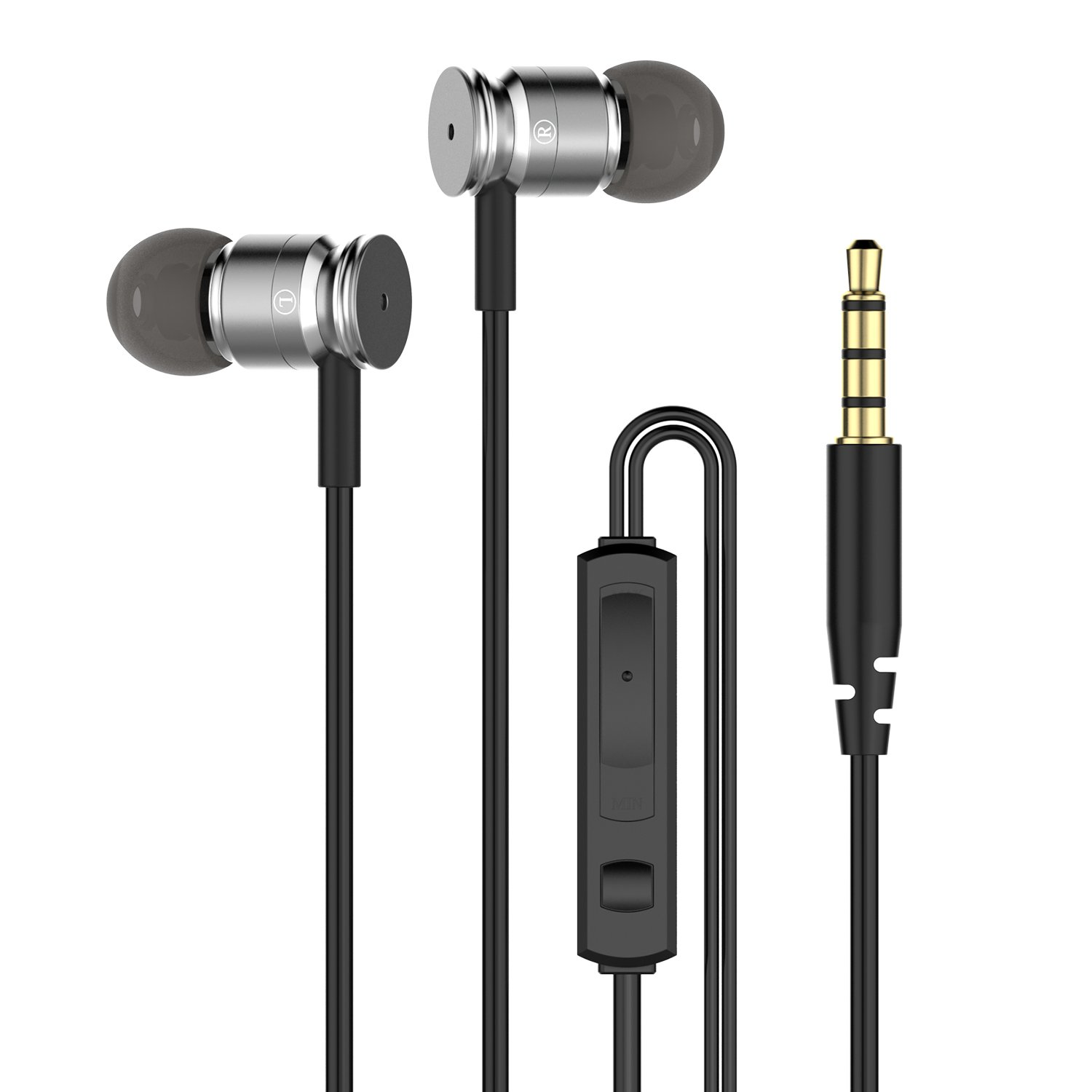 Q-YEE Earbud Headphones,Bass Stereo Earphones with Microphone and Remote for Running Jogging Gym Grey