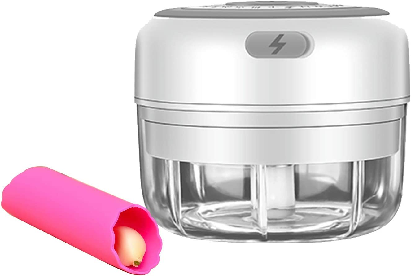 Electric Mini Garlic Chopper, Garlic Crusher Wireless Portable Garlic Mincer With 2pcs Silicone Garlic Peeler Multi Function Food Blender For Fruits, Vegetables,Ginger, Meat,Onions, Nuts (white)