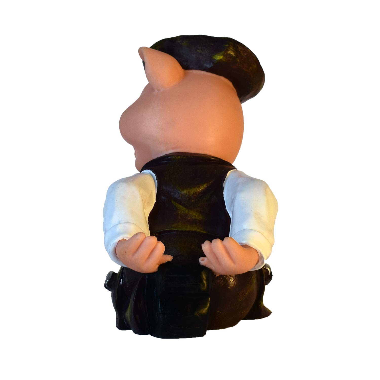 VadiDra Wine Bottle Holder Pig in Brown Hand-Painted Resin Statue Figurine Bar Home Kitchen Decor Excellent Gift