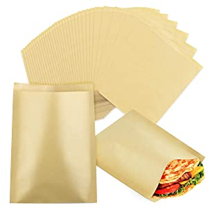 Kuqqi 200 Pack 5.9×7.9 Inch Brown Unbleached Wrap Sheet,Dry Waxed Gusseted Paper Bag,Grease Resistant Kraft Bags Great for Snacks Backery Cookies Treats Bread Sandwiches