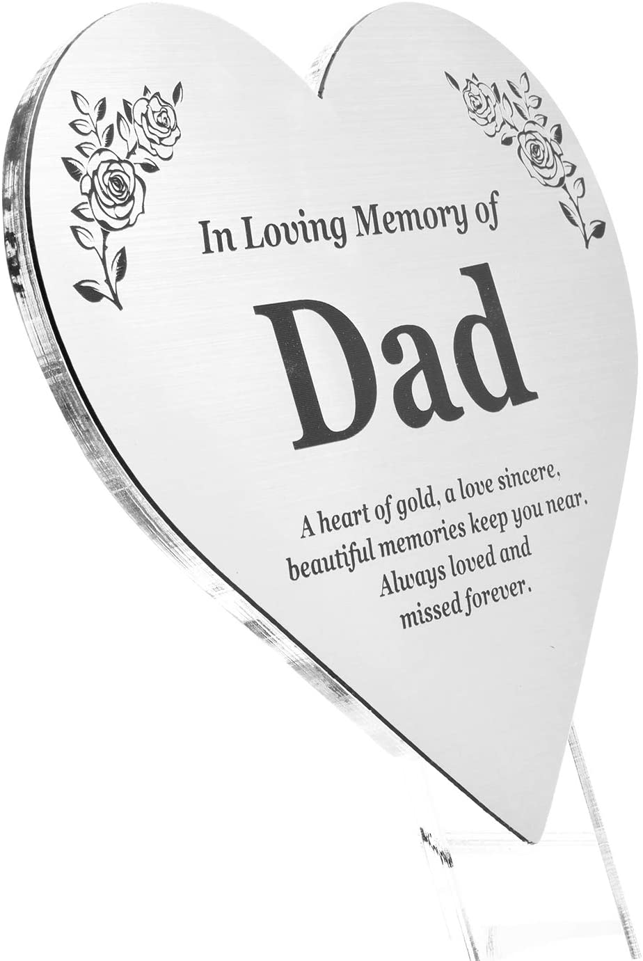 OriginDesigned DAD Floating Heart Memorial Remembrance Plaque Stake - Metallic Silver Acrylic, Waterproof, Outdoor, Grave Marker, Tribute, Plant Marker