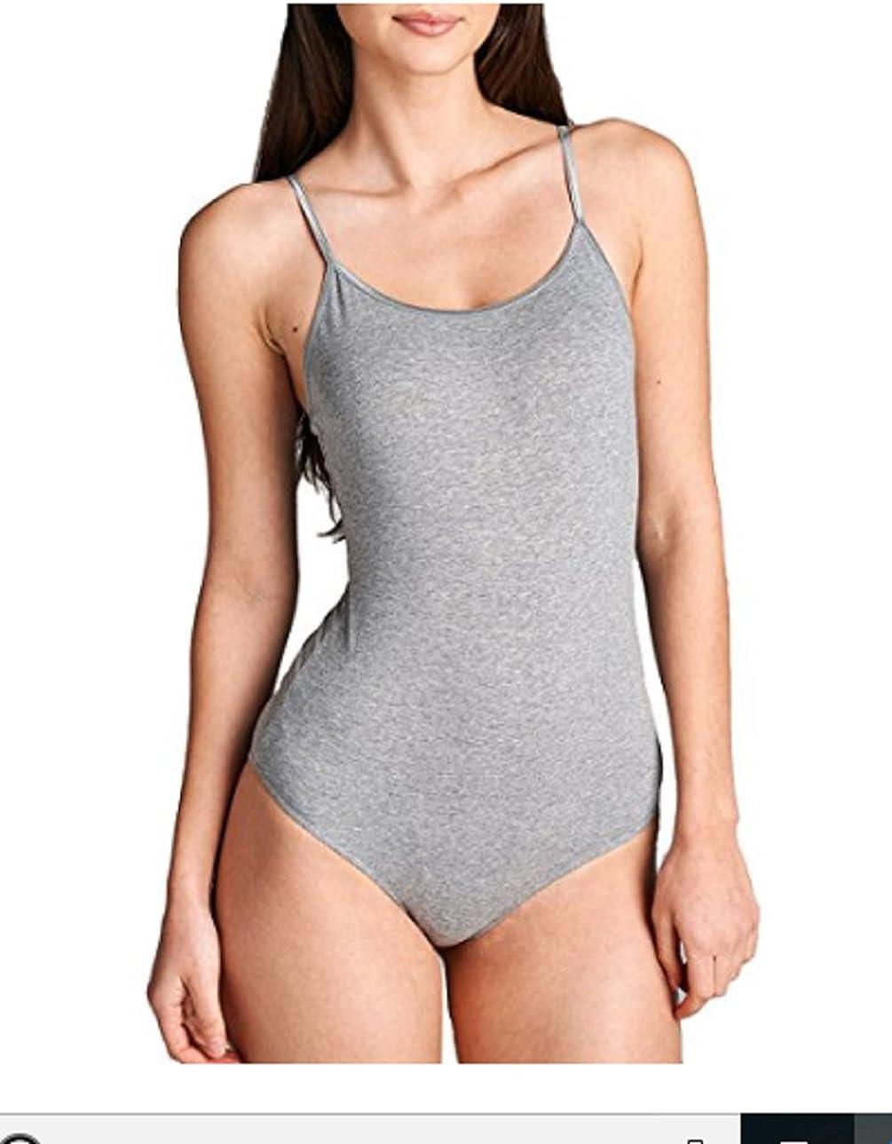 Hollywood Star Fashion Snap Crotch Thin Strap Leotard Bodysuit Camisole