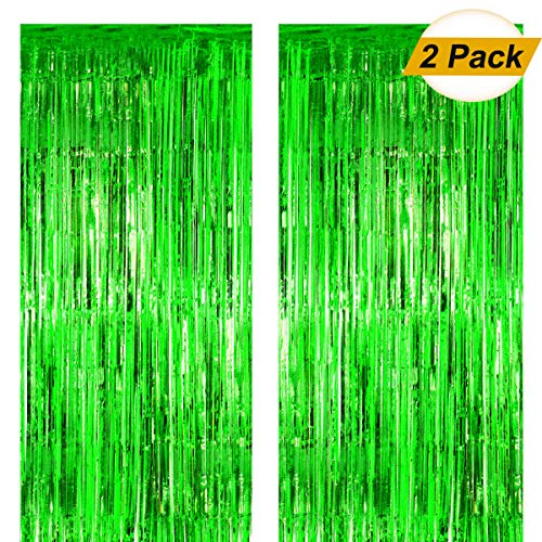 - Fxozru Metallic Foil Fringe Curtain Green Backdrop 2pcs 8X 3ft for Baby Shower Photo Booth Jungle Dinosaur Jurassic Forest Hawaiian Party St Patrick Day Decorations