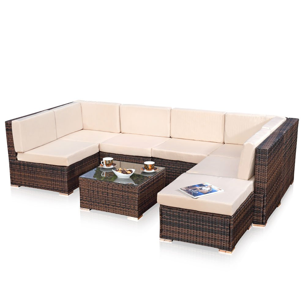 xxl lounge gartenm bel set sitzgruppe garten sofa auflagen in braun aus polyrattan g nstig kaufen. Black Bedroom Furniture Sets. Home Design Ideas