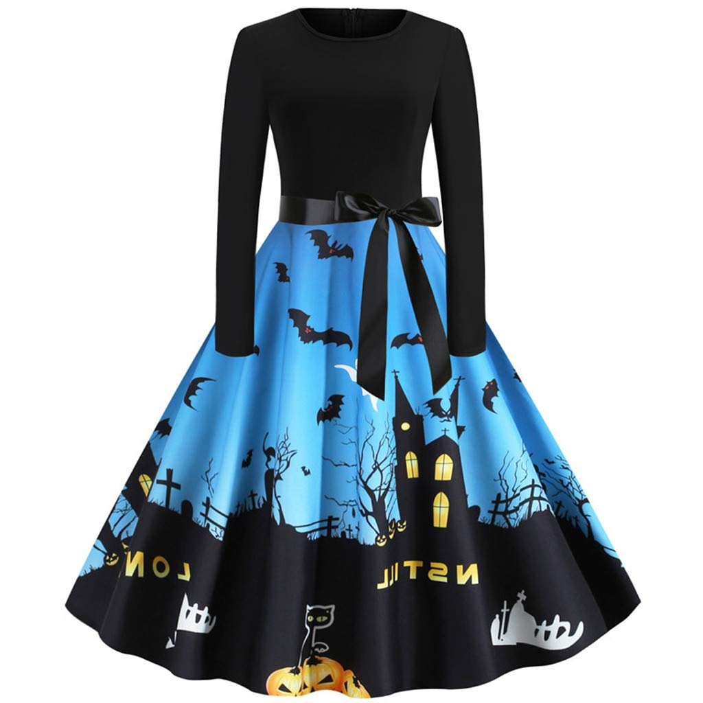 Smileyth Women Halloween Vintage Dress Long Sleeve Round Neck Retro Dress Bow Lace Up Funny Printed Pleated Gown Evening Party Costume Cocktail A-Line Midi Dress