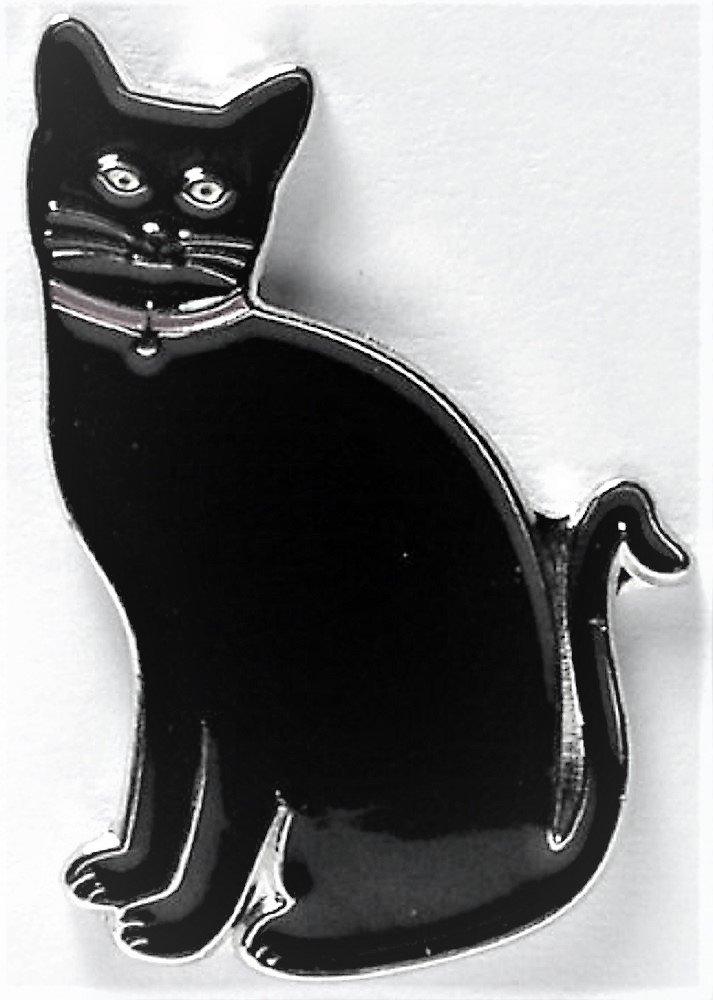 Chat en métal émaillé Motif chat Noir Mainly Metal