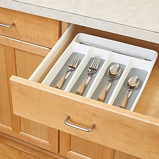 Godyluck Organizador de cajones Cubiertos Cubiertos Cubiertos Almacenaje de Utensilios 5 Secciones para la Cocina Comedor de la Oficina