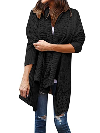 47985d4940 Image Unavailable. Image not available for. Color  Umeko Womens Cardigans  Oversized Open Front Sweaters Lightweight Long ...