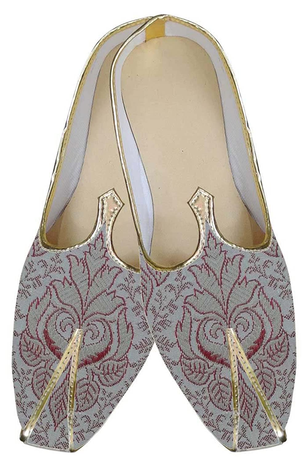 Mens Cream Indian Wedding Shoes Red Flower MJ0154