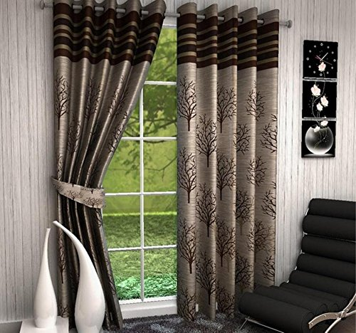 Global Home 9 feet Long Curtains for Living Room Set of 3 Jute Modren Eyelet Polyester Long Door Curtain – Size 9X4ft – 3pc, Brown