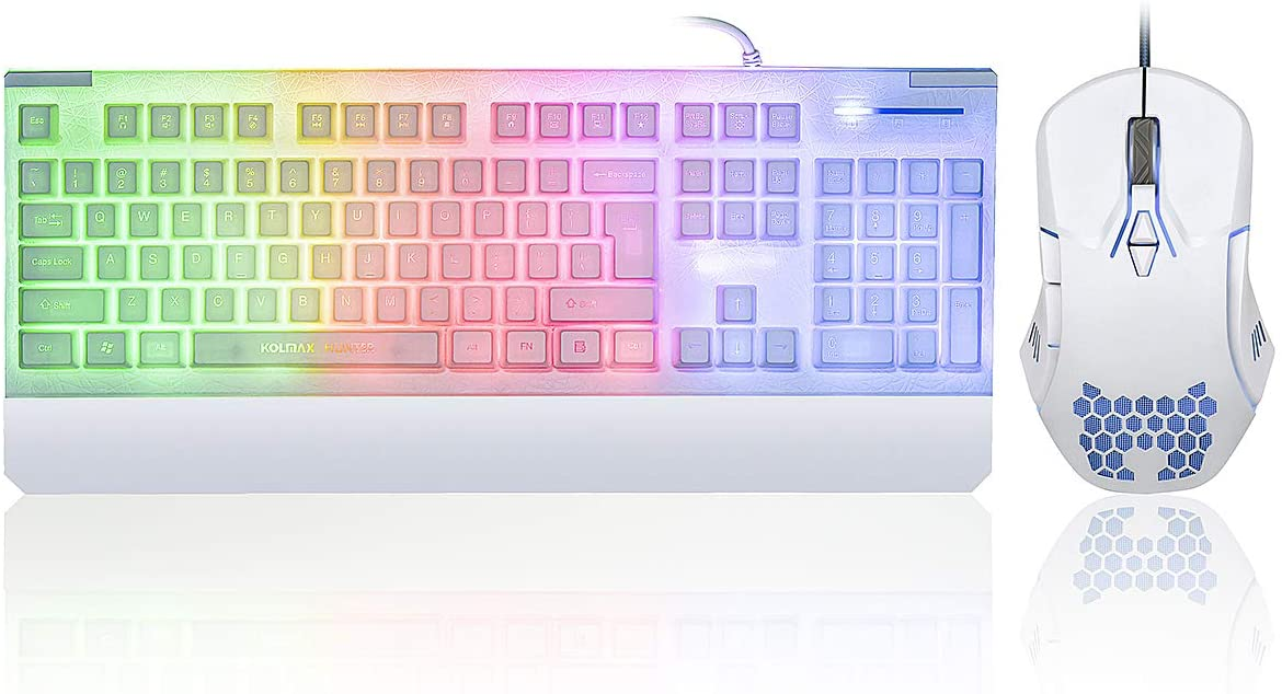 White Gaming Keyboard and Mouse Combo Colorful Lights Rainbow LED Backlit Keyboard with Ergonomic Detachable Wrist Rest, Programmable 3000 DPI 7 Button Gaming Mouse for Windows PC Mac Office/Gaming