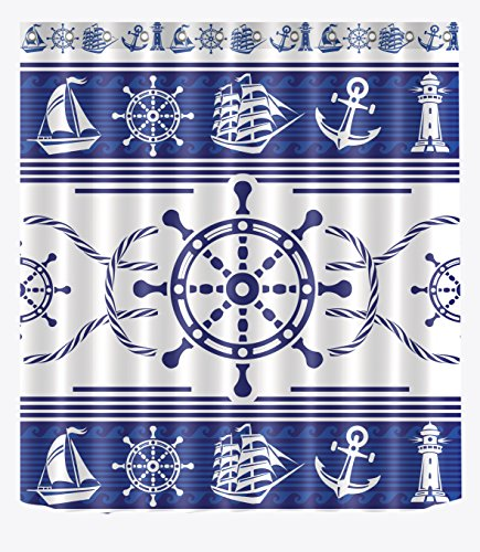 LB Anchor Wheel Sailboat Lighthouse Sailor Rope Blue White Pattern Shower Curtains for Bathroom, Nautical Marine Theme Decor, 70
