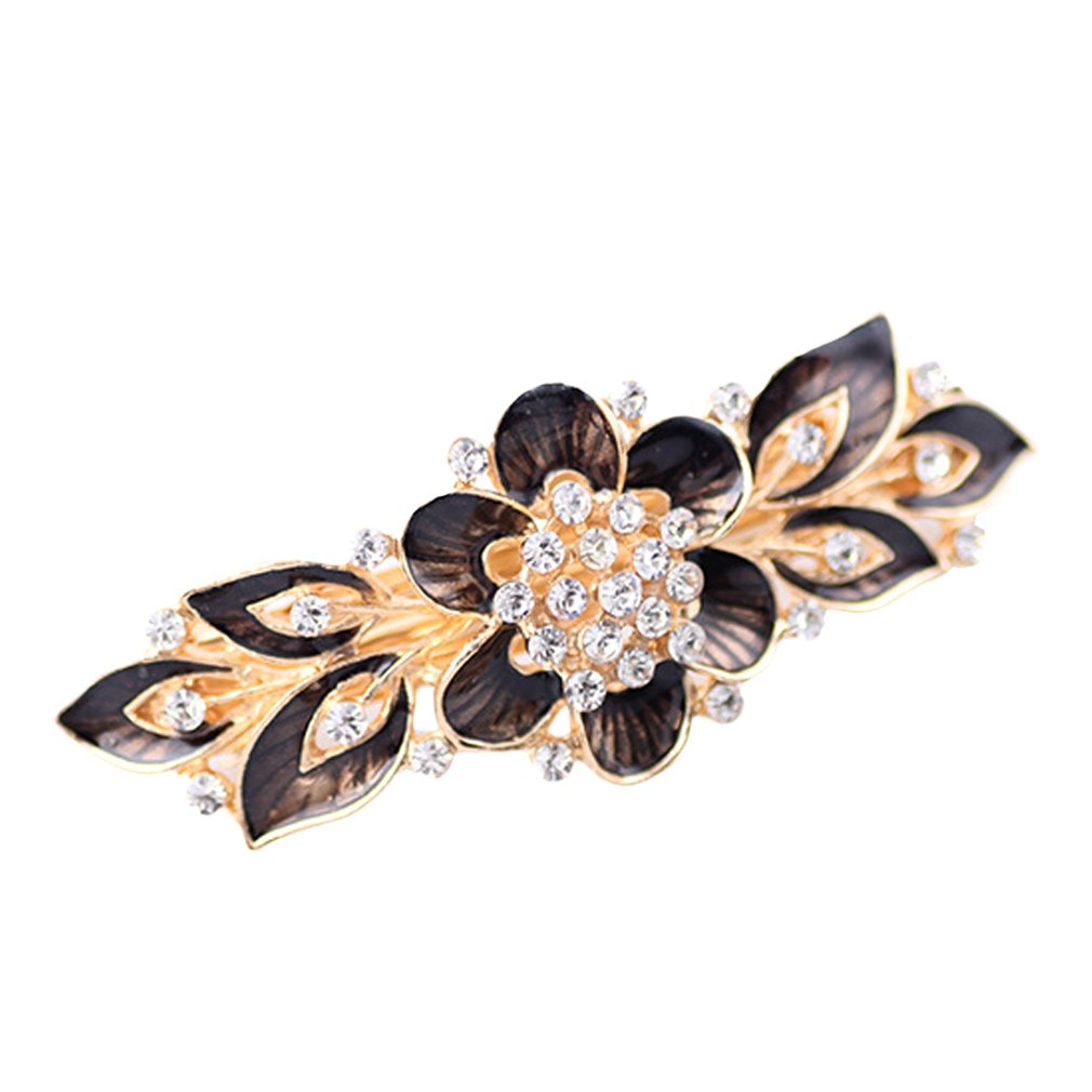 YAZILIND Elegant Jewelry Charming Floral Style Gold Plated Bridal Hair Accessory Shinning Rhinestone Crystal Hair Barrette for Women Clips Hair Hairpins( Black Gray) YAZILIND JEWELRY LTD 1204T0005-DG