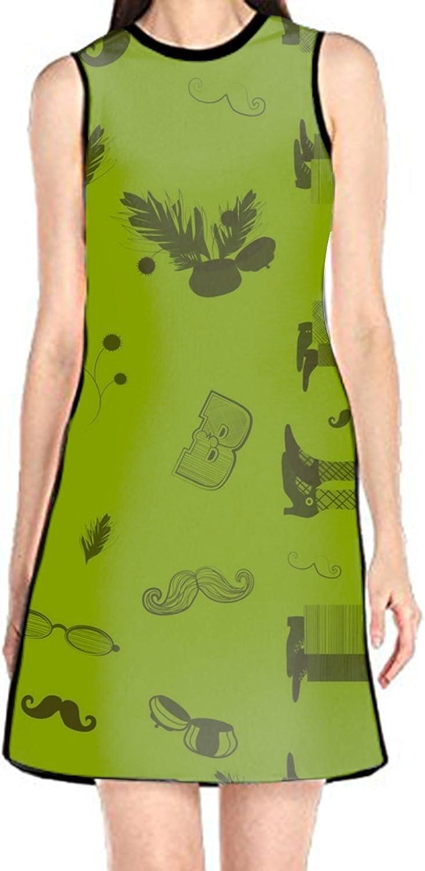aportt Shift Dress Sleeveless Tank Dresses I Love You Elephant Printed Beach Suit for Women