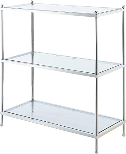 Convenience Concepts Royal Crest 3-Tier Bookcase, Clear Glass Chrome Frame