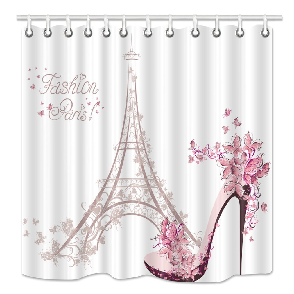 NYMB Eiffel Tower Shower Curtain High Heeled Shoes And Flower In Paris Mildew Resistant Fabric Bathroom Decorations Bath Curtains Hooks Included