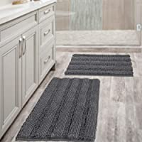2-Pk H.Versailtex Grey Bath Mats for Bathroom Non Slip