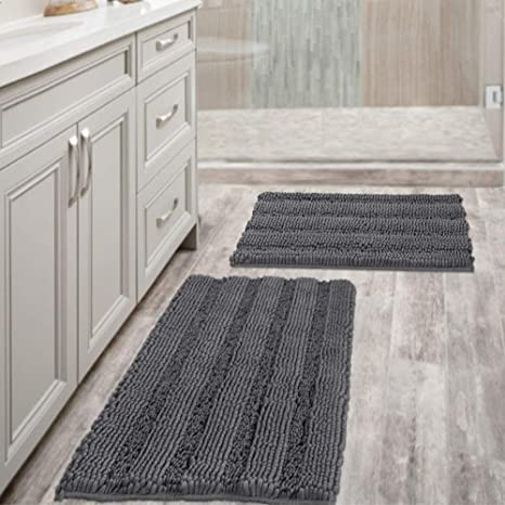 Amazon Com Grey Bath Mats For Bathroom Non Slip Ultra Thick And Soft Chenille Plush Striped Floor Mats Bath Rugs Set Microfiber Door Mats For Kitchen Living Room Pack 2 20 X 32 17