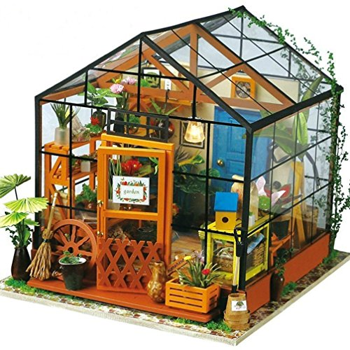Nibito Creative Gift Toy Wooden DIY Doll House 3D Stereo Jigsaw Puzzle Hand Assembled (Model 3 Greenhouse)