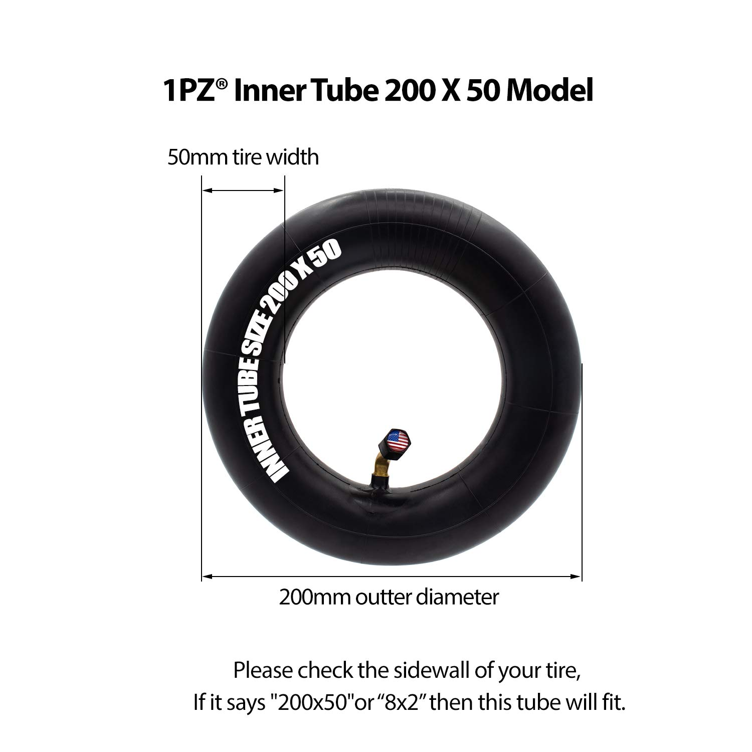 Pack of 2 ePunk and Dune Buggy e200 1PZ X02-20W 8 inch Heavy Duty Thorn Resistant Inner Tube // 200x50 Scooter Inner Tube Replacement for The Electric Razor e100