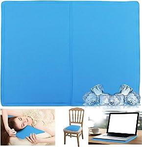 Gel Seat Cushion, Ice Cooling Mat Pad,Summer Chair Pads Cushions, Cold Chair Cushions Home Kitchen Chair Seat Cushion Non Slip,for Office Chair,Game Chair, Car, Wheelchair, Meditation(Blue) 15in×12in