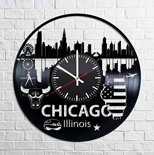 Chicago Illinois USA City Skyline Vinyl Record Wall Clock, America Handmade Gift Idea for Any Occasion, Original Home Room Kitchen Decor Vintage Modern - Clock Illinois Vintage