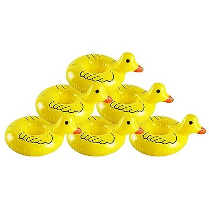 6 pcs Flotador Posavasos del Pato,GZQES, Juguetes Hinchable Posavasos para Piscina,Titular