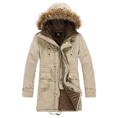 7e128f40523 Men's Luxury Faux Fur Long Winter Trench Coat Jacket Hooded Parka Overcoat  (M/Asia Tag XXL, Khaki)