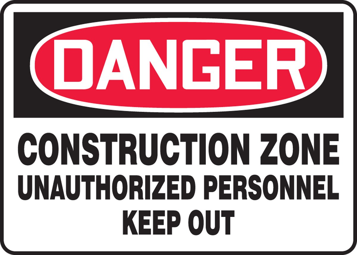 Red//Black on White 10 Length x 14 Width x 0.060 Thickness LegendDanger Construction Zone Unauthorized Personnel Keep Out Accuform MCRT126XT Dura-Plastic Sign
