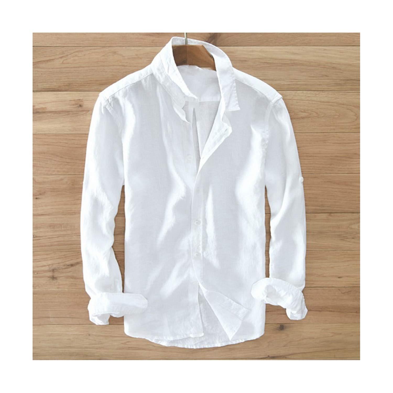 Mens Pure Linen Long-Sleeved Shirt Men Men Shirt S-3XL Susan1999-ew8sdauhfihu White Shirts Men Shirts