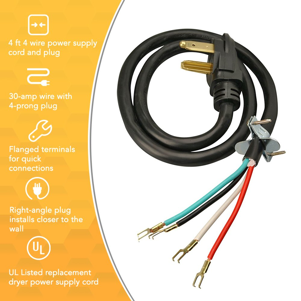 Coleman Cable 4 Wire Dryer Power Cord 30 Amp Ft Replacement How To A Plug Clothes Cords