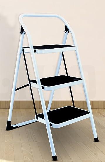 Foldable 1 2 3 4 Step Steel Ladder Non Slip Tread Stepladder Safety Kitchen