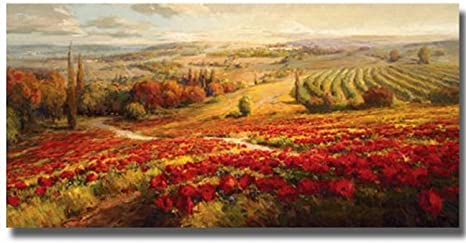 Artistic Home Gallery 2448am579s Red Poppy Panorama Mixed Media Paintings Posters Prints