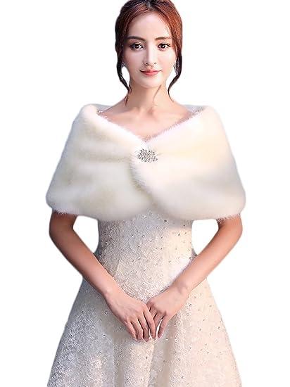 0684106f6676 Icegrey Femme Châle en Fausse Fourrure Avec Broche Strass Pour Robe Soirée  Rouge Mariage Boléro Wrap