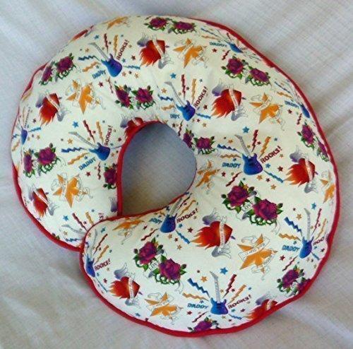 Nursing Pillow Slipcover White Rock Star Tattoo Print for Baby Boy or Girl Handmade by Mommy's Little RockStar