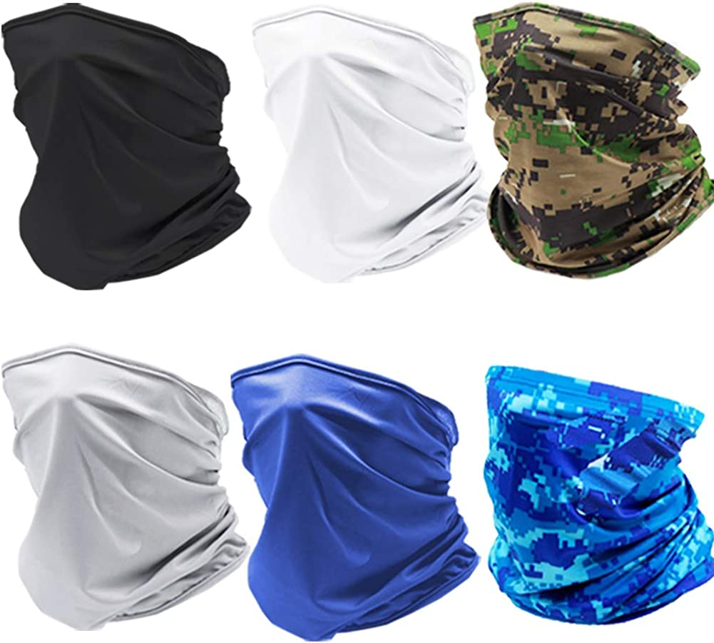 Omisy 6 Pieces Summer UV Protection Neck Gaiter Scarf Sunscreen Breathable Bandana for Sports
