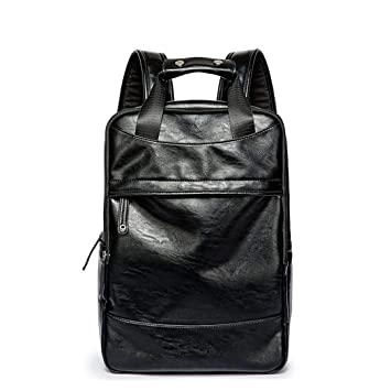 Mochila de Cuero de los Hombres Casuales Male Bookbag Negro Impermeable Masculina Mochila de Viaje para Hombre Mochilas Hombre Black: Amazon.es: Equipaje