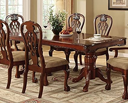 Image Unavailable. not available for. Color: Georgetown Warm Cherry Dining Table Amazon.com - w/ Leaf by