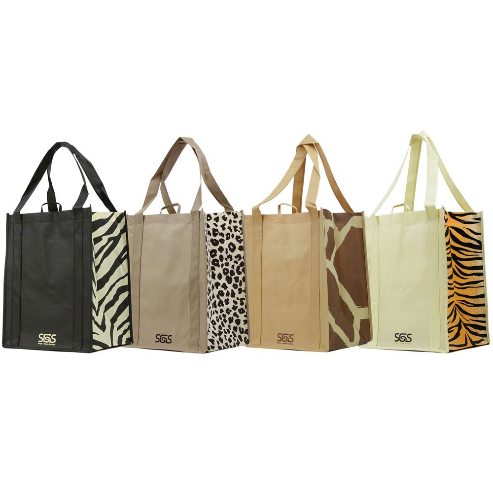 Animal - Graphic Pattern Prints - Reusable Reinforced Tote Bags - Set of 4