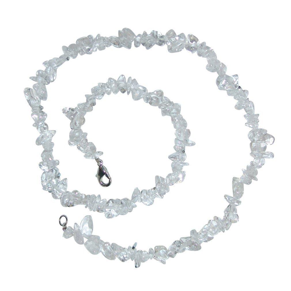 Bergkristall Splitterkette lang endlos ohne Verschluss Edelstein Heilstein 90 cm