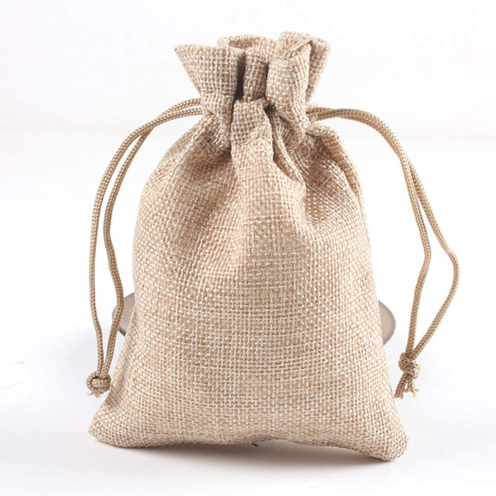 BIGBOBA Set of 10 Pure Color Wedding Party Drawstring Burlap Bag Small Jewelry Pouch for Wedding Party and DIY Craft Household Sachet Bag, 10x13.5CM