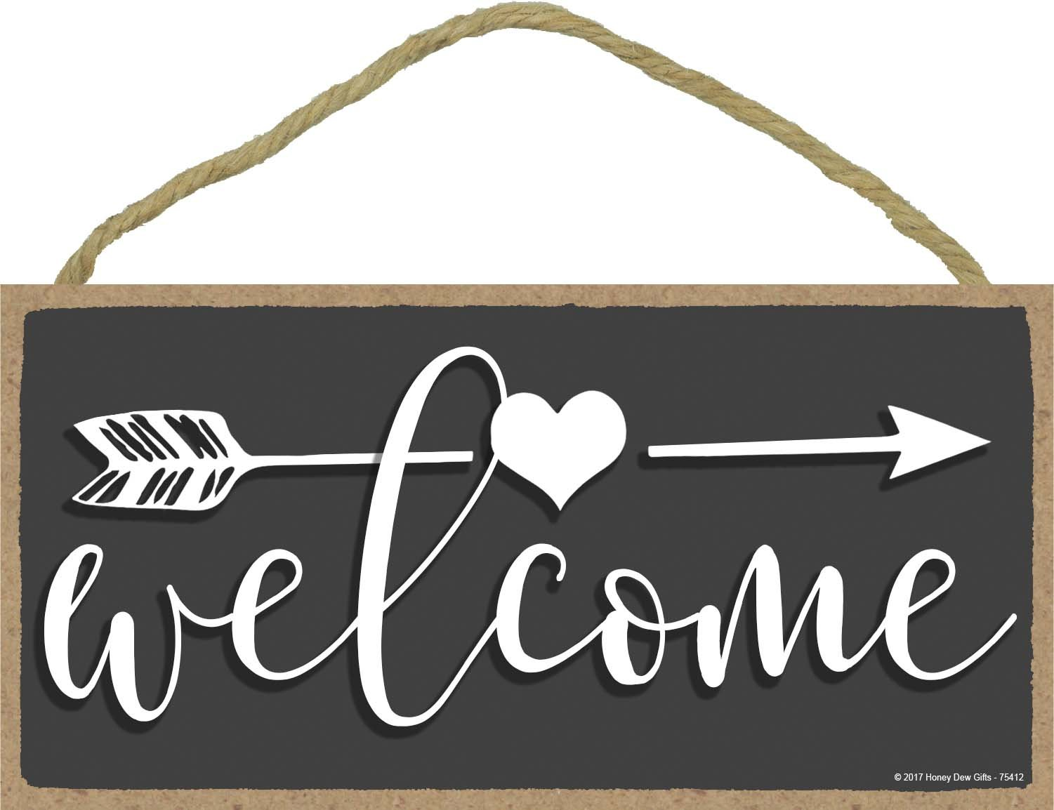 Welcome - 5 x 10 inch Hanging, Wall Art, Decorative Wood Sign Home Decor by Honey Dew Gifts