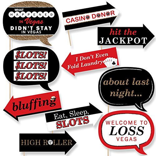 Funny Las Vegas - Casino Themed Photo Booth Props Kit - 10 Piece (Las Vegas Themed Party)