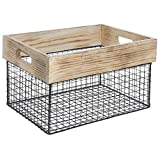 Expressly Hubert Rectangular Natural Wood and Black Wire Crate - 15 3/4''L x 11 3/4''W x 9 1/2''H