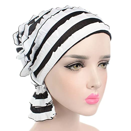 Home-organizer Tech Plain Color Turban Ethnic Ruffle Beanie Chemo Headscarf Cap for Cancer Patients
