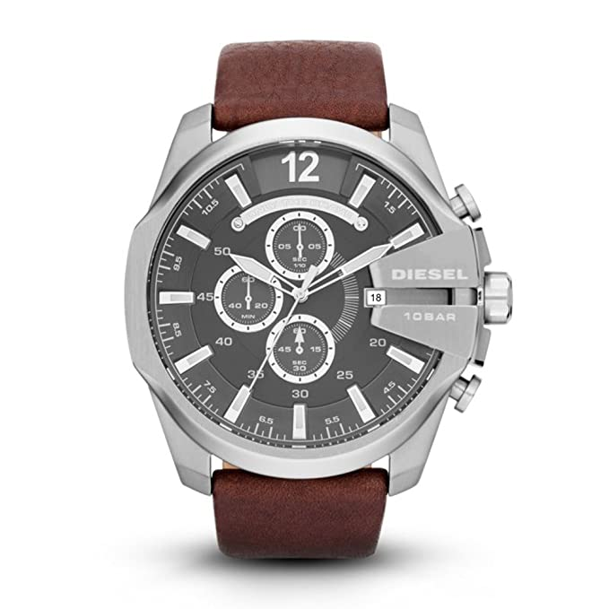 aad75eb6e8aa Amazon.com  Diesel Men s Mega Chief Quartz Stainless Steel and Leather  Chronograph Watch